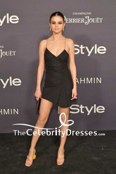 a269a147130 Selena Gomez Sexy Fit And Flare Little Black Dress 2017 InStyle Awards  TCD7566