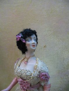 Miniature Porcelain 1 inch scale doll dressed in the by KaysStudio, $145.00