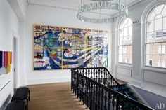Designer Francis Sultana and architect Thomas Croft renovated a triplex apartment in a London mansion for its art-collecting owner and her family. On display at the top of the stairway is a wall-size work by Keith Tyson. London Townhouse, London House, London Mansion, Best Interior, Luxury Interior, Interior Architecture, Interior Design, Design Interiors, Modern Interiors