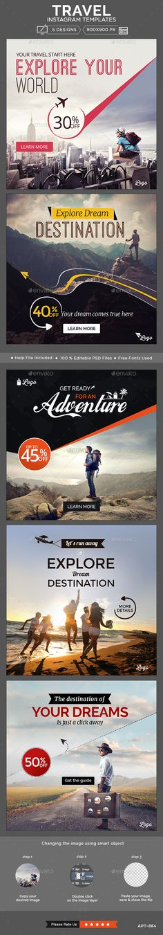 Travel Instagram Templates - 5 Designs Template #design #ads Download…