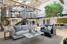arbre d'intérieur dans le salon de design moderne avec panier de basket, maison à SoMa San Francisco