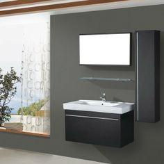 Salle de bain complète meuble 1 vasque Wengué DIVINA - Maison Facile : www.maison-facile.com