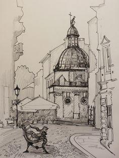 Maria Apriatova. Lviv 2, 2013.  Pen, pencil, paper, A4 Architecture Drawing Sketchbooks, Watercolor Architecture, Landscape Sketch, Landscape Drawings, Pencil Art Drawings, Art Sketches, Amazing Drawings, Traditional Paintings, Art Inspo