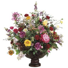 artificial flowers   Silk flower arrangement over three feet tall - can be customised, from ... Silk Flower Centerpieces, Artificial Floral Arrangements, Beautiful Flower Arrangements, Flower Decorations, Beautiful Flowers, Silk Arrangements, Tall Centerpiece, Fake Flowers, Artificial Flowers