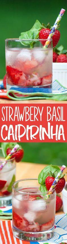 This Brazillian Strawberry Basil Caipirinha cocktail tastes like Summer in a glass!
