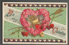 Valentine Greeting Heart Pink Forget Me not Wreath Bow Arrow Embossed Postcard | eBay