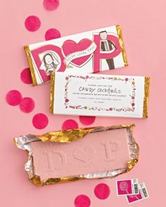 Bridal Shower Invitation -- Strawberry chocolate bars from Chocolate Editions by Mary & Matt (chocolate-editions.com) were sent to guests as invites. Darcy's illustration (darcymillerdesigns.com) provides the details on the outside.