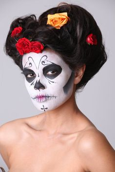 Halloween sugar skull face paint-- love this one. so simple, and stunning.