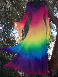 Beautiful Rainbow Fairy Sleeves Dress