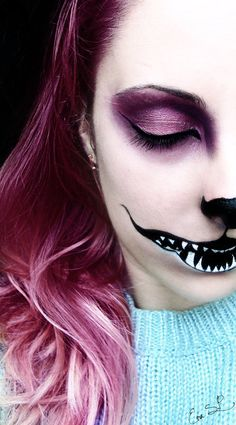 Were all mad here (Cheshire Cat Halloween makeup) by *Chuchy5 // I want to do this for Halloween! Halloween Makeup #halloween #makeup