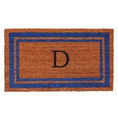 Blue Border Monogram Doormat (Letter D)