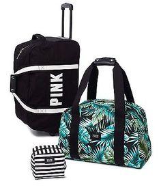 Victoria's Secret Pink 3-Piece Luggage Travel Set Wheelie,Duffle Logo BNWT!