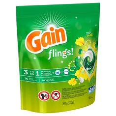 Gain Laundry Detergent - Get more of that Original Gain scent. Gain flings with laundry detergent, extra boost for cleaning, and odor removal all in 1 unit dose. - Size: 16 ct, Number of Loads per Bag. Gain Fireworks, Tide Pods, Liquid Laundry Detergent, Odor Remover, Printable Coupons, Walmart, The Originals, Affordable Clothes