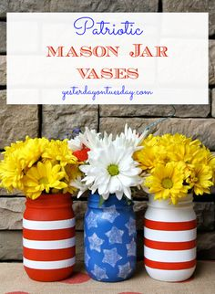 DIY Patriotic Mason Jar Vases by @Malia Martine Karlinsky | Mason Jar Crafts