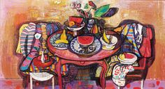 LEON MORROCCO born 1942  Still Life 1987 mixed media on paper laid down on board 125.0 x 227.0 cm signed and dated upper left: Leon Morrocco 1987  Provenance: Company collection, Sydney  Australian Galleries, Sydney, label attached verso (stock no.23978)| Estimate: $2,000 - 3,000 Result Hammer: $1,900