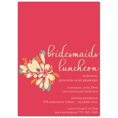 Anance Coral Bridesmaids Luncheon Invitations