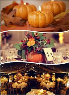 Fall Wedding Ideas – Pumpkins -InvitesWeddings.com... minus the pumpkins the bottom picture is exactly what i want =)