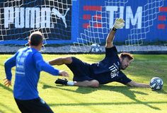 Gianluigi Buffon of Italy in action during a training session at Italy club's training ground at Coverciano on October 4, 2017 in Florence, Italy.