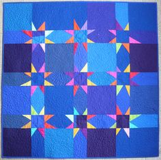 Midnight Blue Baby Quilt  by Little Red Hen