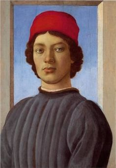 """Sandro Botticelli (1445-1510), """"Portrait of a young man with red cap"""""""