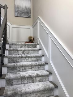 Custom stair runner installation of our Oxford Street in color Iced Mint! Staircase Railing Design, Modern Stair Railing, Modern Stairs, Railings, Staircase Carpet Runner, Stairway Carpet, Carpet Stairs, Patterned Stair Carpet, Textured Carpet