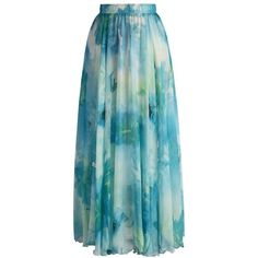 Chicwish Dancing Watercolor Floral Maxi Skirt in Blue ($42) ❤ liked on Polyvore featuring skirts, blue, floral maxi skirt, maxi skirt, long skirts, long floral skirts and flower print skirt