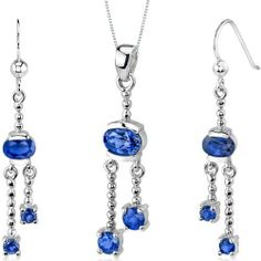 Charming 3.25 carats Round Oval Shape Sterling Silver Rhodium Finish Sapphire Pendant Earrings Set Peora. $44.99