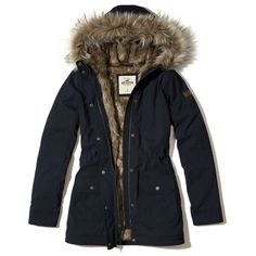 Hollister Stretch Cozy-Lined Parka ($160) ❤ liked on Polyvore featuring outerwear, coats, navy, utility coat, navy blue coat, navy parka, faux fur lined parka and cinch coats