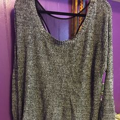 Women's knit top with cute open back! XL Gray and black knit top with very cute cutout back and mesh lining. Great condition! Tops