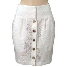 Pre-owned Abaete - Ivory Sheer Flower Linen Blend Skirt ($87) ❤ liked on Polyvore