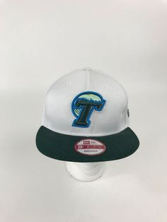 b138f56ba45 Tulane University Green Wave Snapback Hat Cap New Era 9Fifty White Green