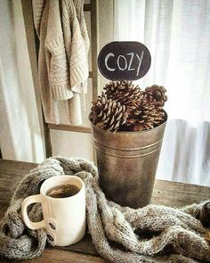 Cozy tea, cozy, pinecone, rustic cozy