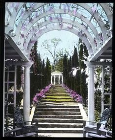 [Morningside] : vaulted arbor in foreground with stairs leading up to gazebo by Smithsonian Institution You must define your own happily ever after in order to experience it. Garden Arbor, Garden Landscaping, Social Work Exam, Arbors Trellis, Garden Photos, Garden Spaces, Pathways, Botanical Gardens, Garden Design