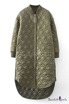 Plain Stand Up Neck Rhombus Quilted Padded Long Coat Fashion Style Coats & Jack Tesettür Mont Modelleri 2020 Long Quilted Coat, Quilted Jacket, Vintage Patterns, Langer Mantel, Winter Fashion, Paris Fashion, Street Fashion, Women Wear, Stylish