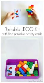 DIY Portable LEGO Kit with 24 Free Printable Activity Cards.  A great idea for those times where you have to wait (Doctor's office, restaurant) or when you are traveling (great in the car or on a plane)!  From Fun at Home with Kids