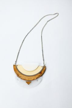 Kites Geometrical necklace - perspex, formica and wood. $69,99, via Etsy.