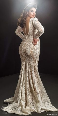 dror kontento 2019 bridal illusion long puff sleeves plunging v neckline fully embellished lace fit flare mermaid wedding dress chapel train bv -- Dror Kontento 2019 Plus Size Wedding Dresses Plus Size Wedding Gowns, Princess Wedding Dresses, Best Wedding Dresses, Wedding Attire, Modest Wedding, Tulle Wedding, Bridesmaid Dresses, Curvy Bride, Dress Plus Size