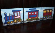 Set of 3 Express Train Boys Bedroom Baby Boy Nursery 8x10 Art on Stretched CANVAS. $60.00, via Etsy.