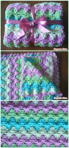 Crochet Puff Spike Stitch Blanket Free Pattern