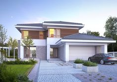 Wizualizacja DZW WYJĄTKOWY 3 CE Model House Plan, House Plans, Model Home Decorating, Double Story House, Creation Homes, Stucco Homes, Unique House Design, Architect House, Facade House