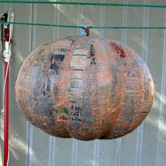 A fun family activity for the fall holidays, a papier mache pumpkin is excellent for Halloween or Thanksgiving decoration. The finished pumpkin can be used as a. Easy Halloween, Holidays Halloween, Halloween Pumpkins, Halloween Crafts, Fake Pumpkins, Paper Mache Clay, Paper Mache Crafts, Fall Crafts, Holiday Crafts