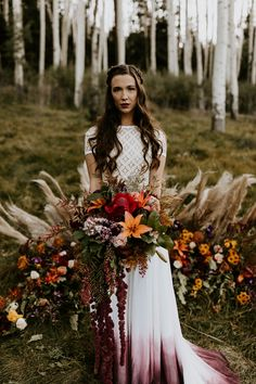 This fall/autumn elopement turned out so magical in the aspen trees of Lockett Meadow in Flagstaff, Arizona! Love these fall colors in this beautiful bouquet! Photo by Erika Greene Photography Bridal Bouquet Fall, Fall Wedding Flowers, Tree Wedding, Fall Flowers, Flower Bouquet Wedding, Floral Wedding, Wedding Colors, Rustic Wedding, Wedding Ideas