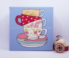 Stacking Cups  Limited Edition Embroidery Art by gillianbates