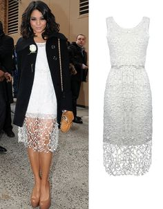 Vanessa Hudgens in the Rozzi Lace Sleeveless Dress by alice + olivia!    http://blog.oxygenboutique.com/home/vanessa-hudgens-wears-our-rozzi-dress-by-alice-olivia/
