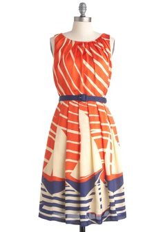 """Maritime Moxie"" dress by Eva Franco with sailboats and stripes in sunset-orange and sea-blue shades"