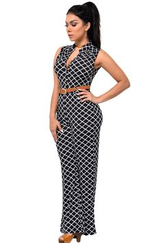 Cute Fashion Lattice Print Belted Jumpsuit With Wide Legs Feminine, chic and seriously flattering, this jumpsuit belongs in your day-to-night wardrobe. Styling modern sexy and relax fit, it has button front V neckline, chic sand collar, single chest pocket, wide-leg design and side pockets for the pants. This elegant jumpsuit flaunts pristine tailoring and the season's high-waisted silhouette. Category: Jumpsuits & Rompers Style: Casual, Brief Neckline: V-Neck Sleeve Length: Sleeveless Size…