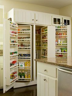 Kitchen Pantry Design Ideas – Better Homes and Gardens. Cabinet/counter depth but nothing gets hidden. Easy access.