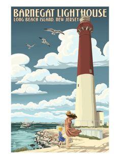 Barnegat Lighthouse Long Beach Island, New Jersey - Vintage Poster