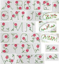 ♥Meus Gráficos De Ponto Cruz♥: Alfabeto com Mini-Flores em Ponto Cruz