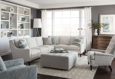 Compact on scale, but gigantic on comfort, the Laguna sectional from Huntington House features a unique combination of a rounded track arm, a modern winged back and a sleek tapered leg, which suits both transitional and contemporary spaces.